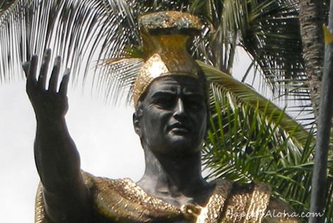 ハワイ島ヒロのカメハメハ大王のアップ