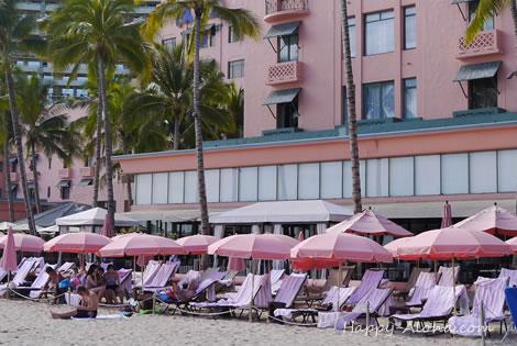 ロイヤルハワイアンホテルのパラソル