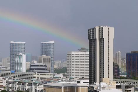 イリカイホテルからの虹