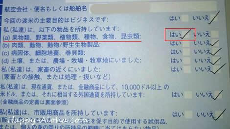 税関申告書(表)