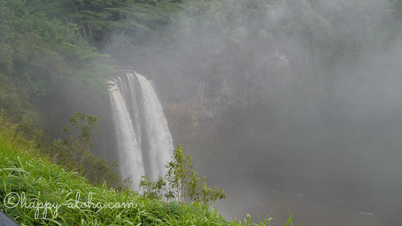 霧がかかったワイルア滝