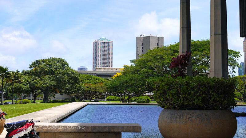 ハワイ州庁舎の水