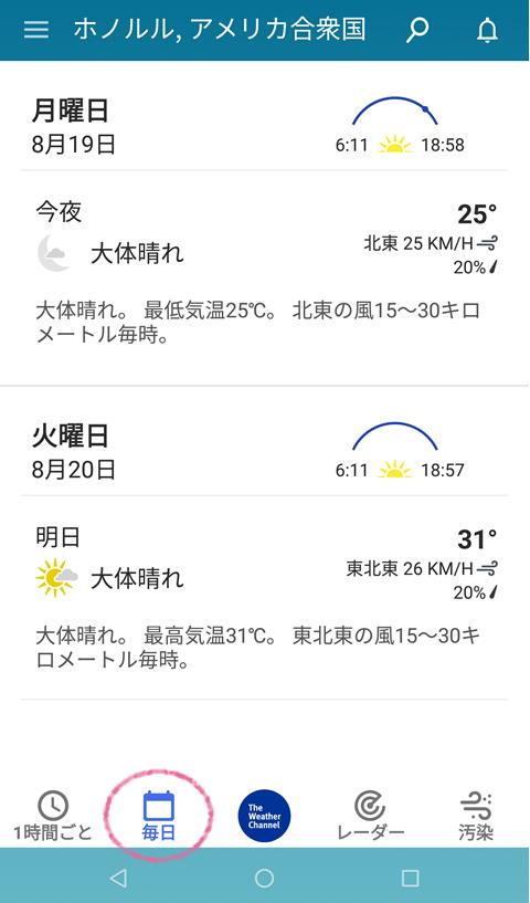 その日の気象情報