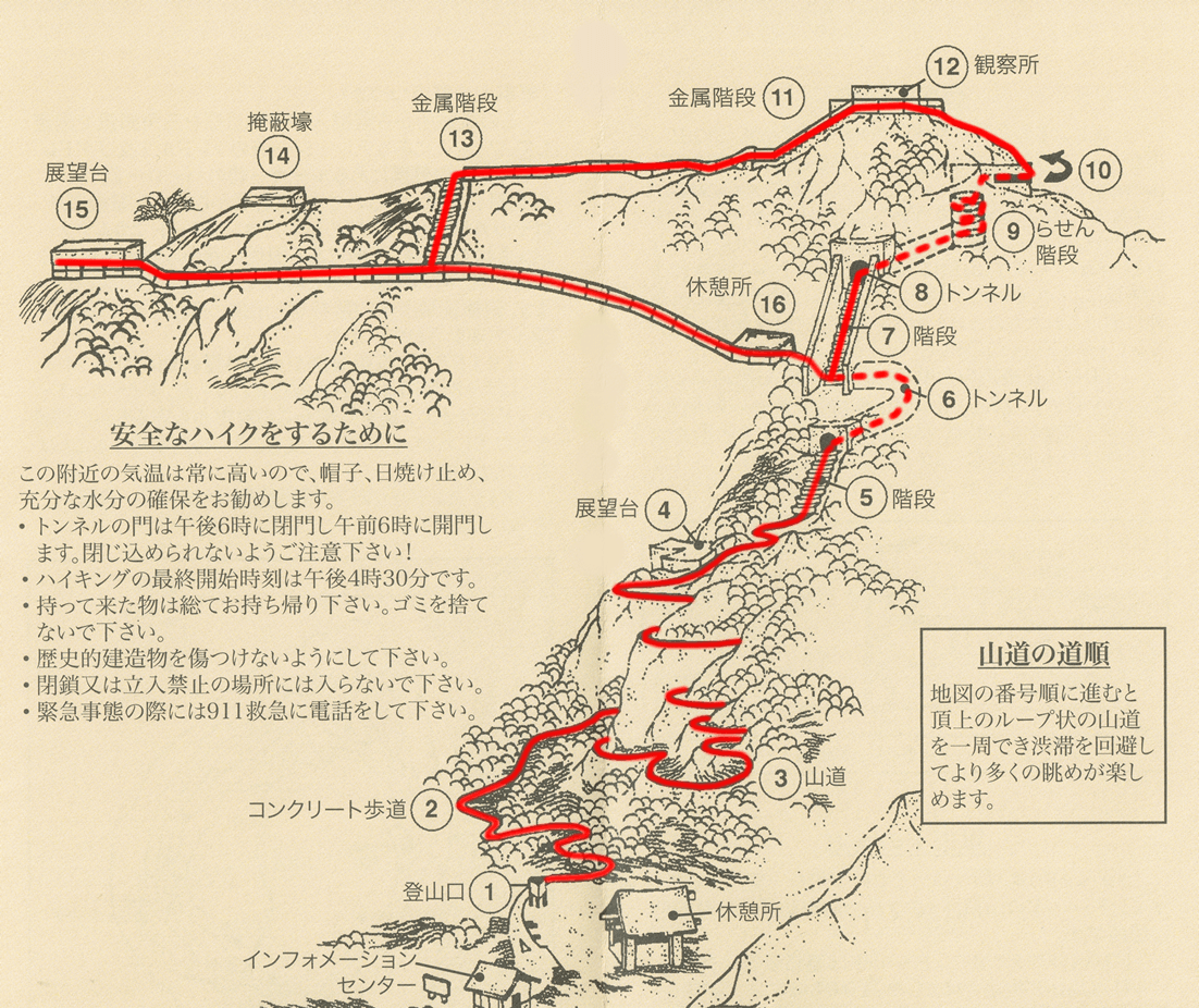 ダイアモンドヘッド登山道地図