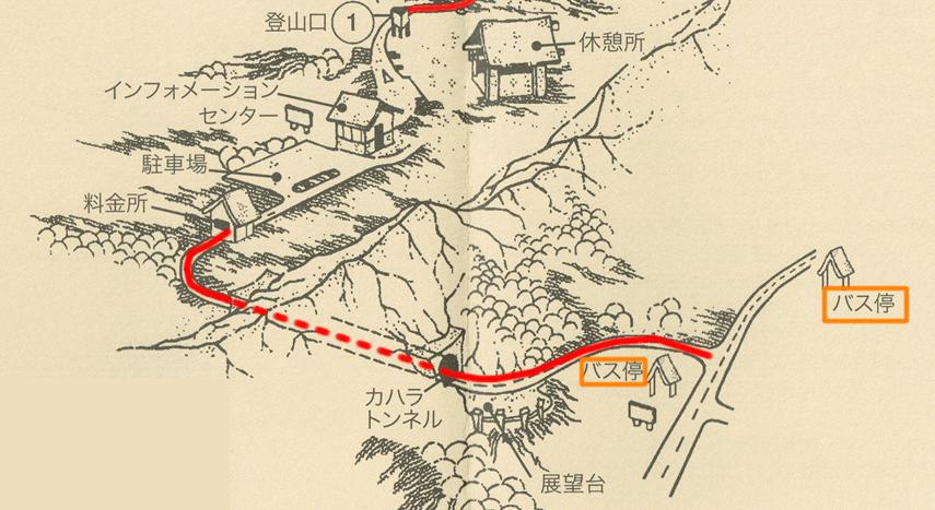 ダイアモンドヘッドのバス停から登山口までの地図