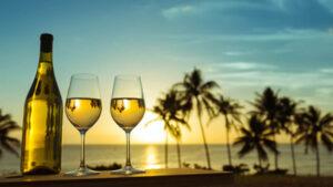 夕日にシャンパン